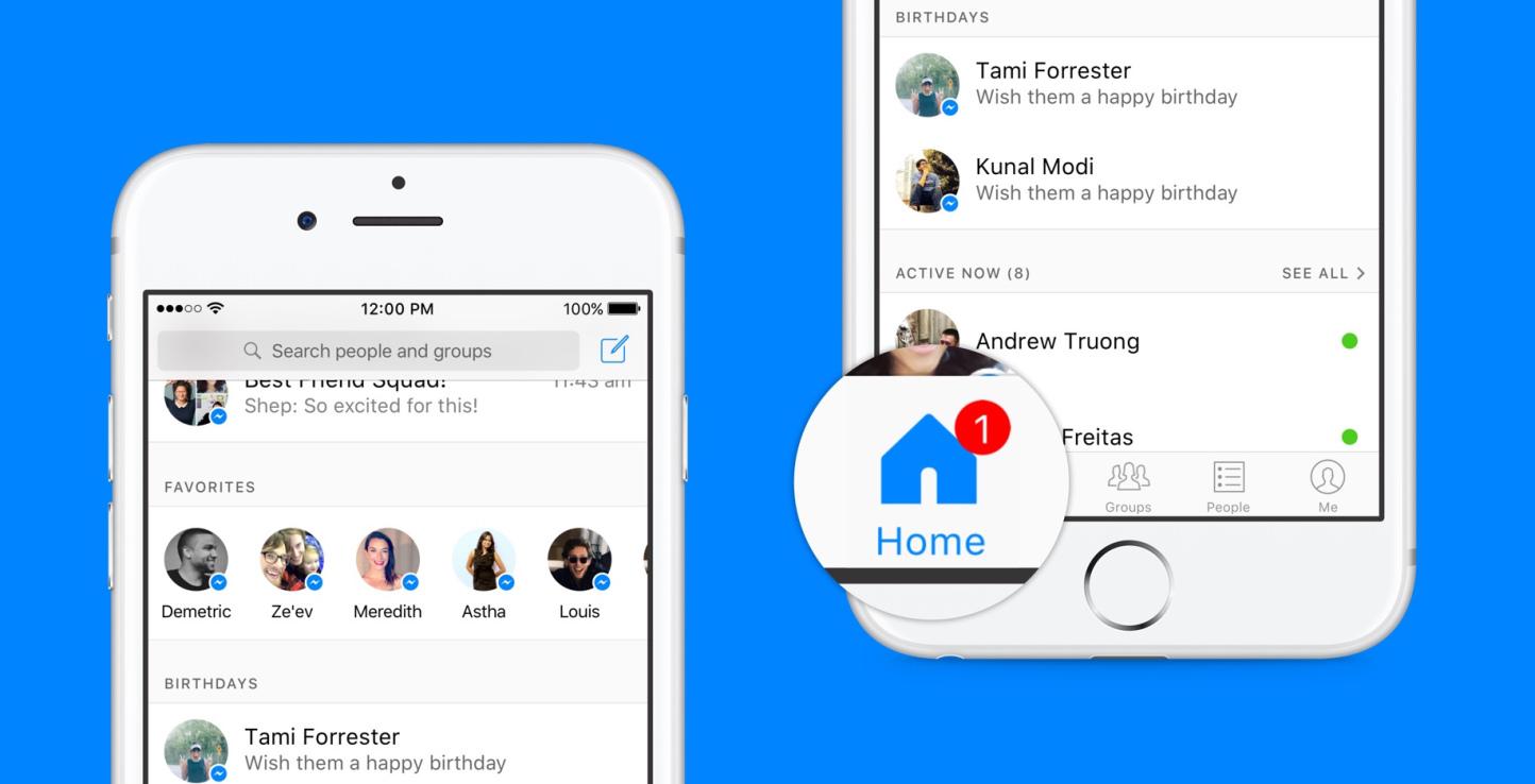 Facebook Messenger aggiunge la schermata Home