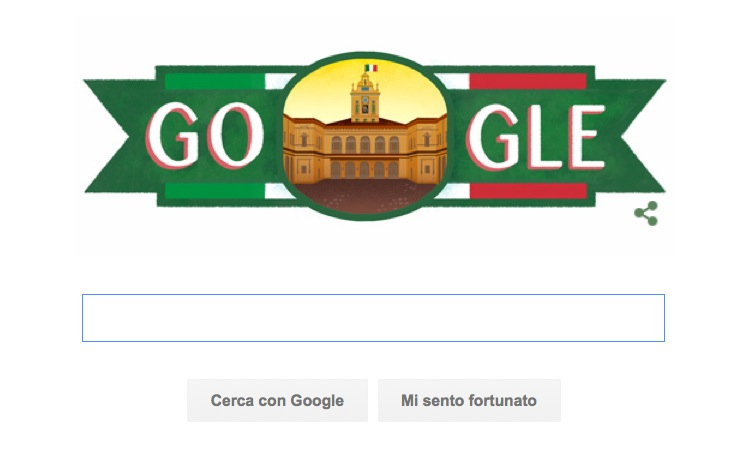 Google Doodle per la Festa della Repubblica Italiana con il tricolore