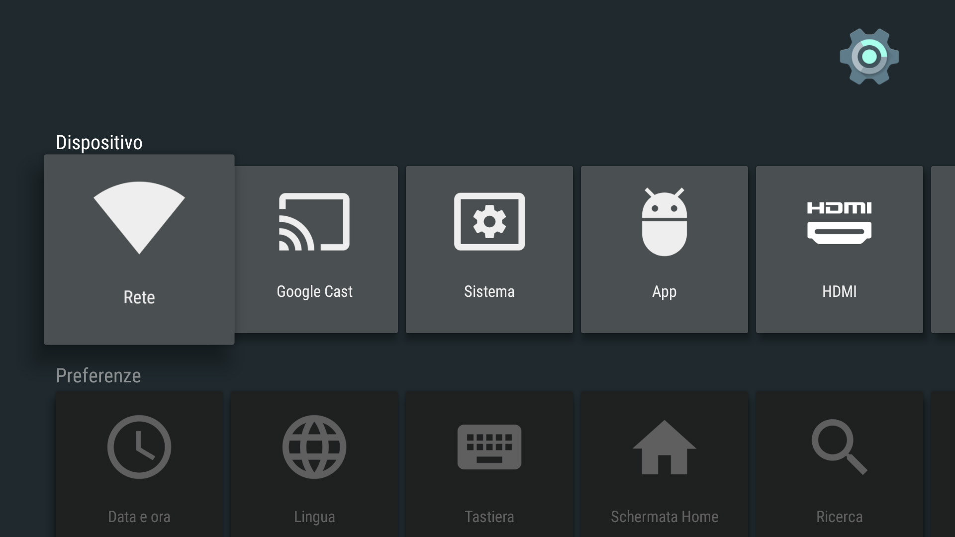 Impostazioni NVIDIA Shield TV