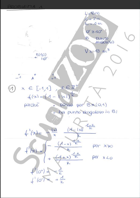 Matematica soluzione problema maturità 2016