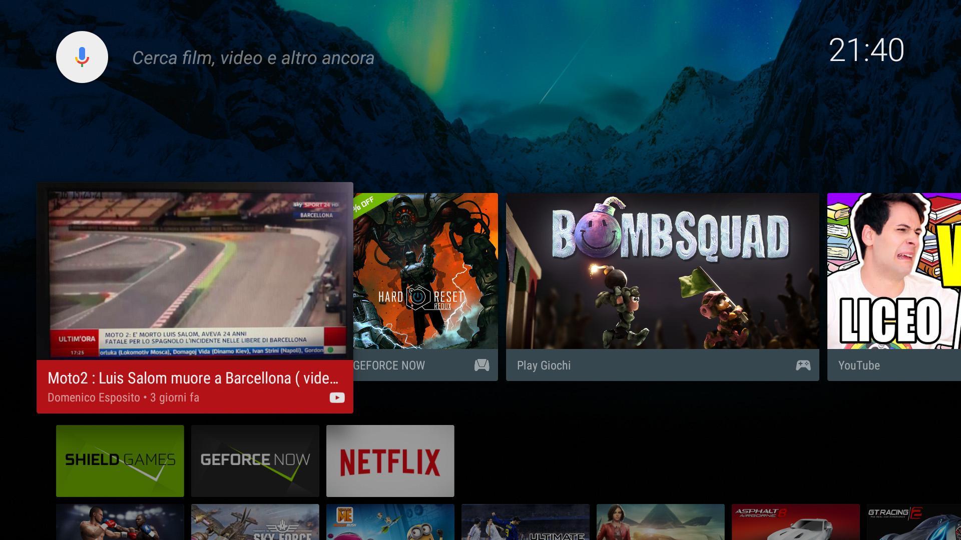 Preferiti schermata Android TV