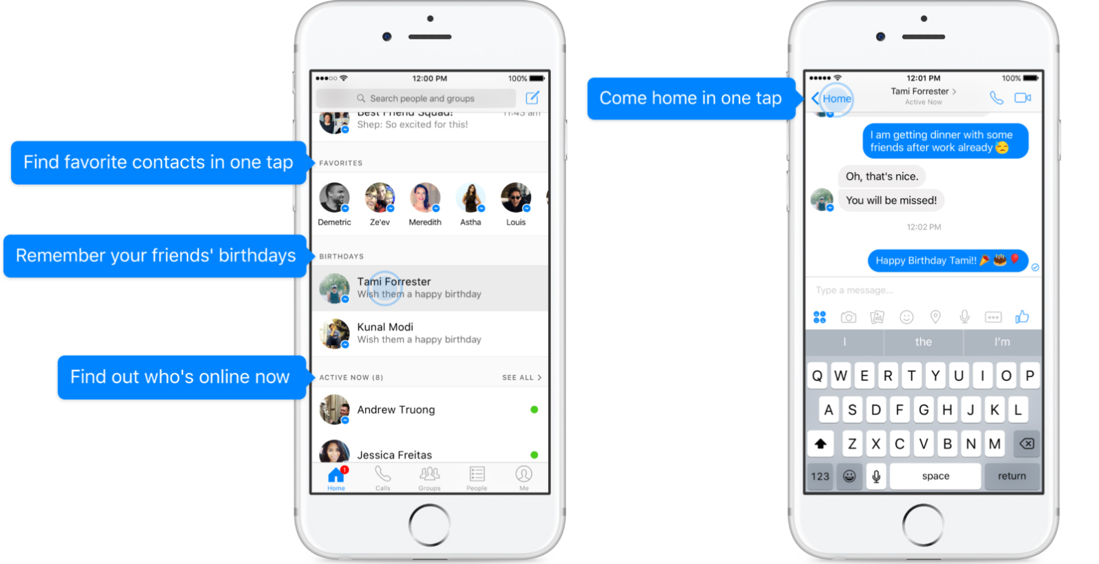 Schermata Home Messenger su iPhone