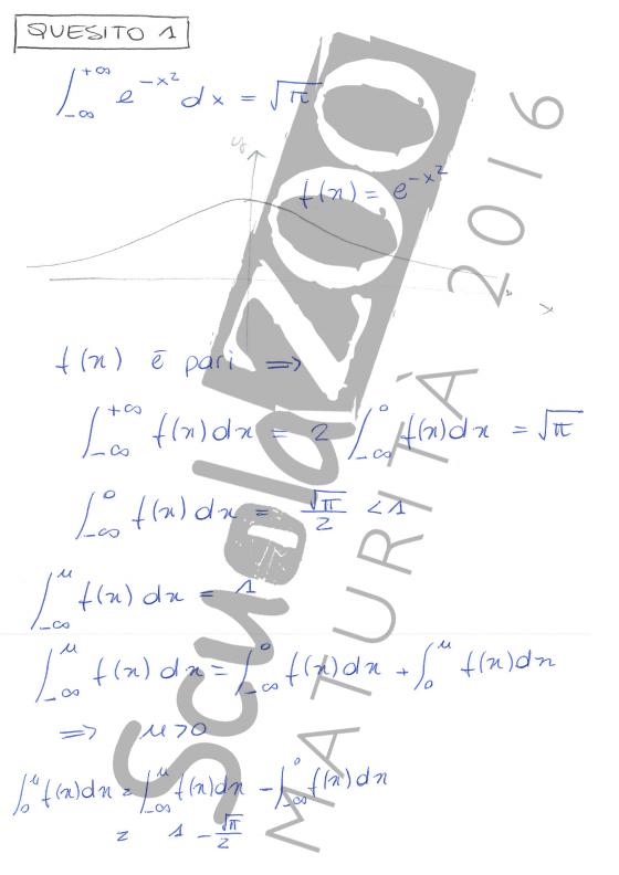 Soluzione Quesito 1 matematica maturità 2016