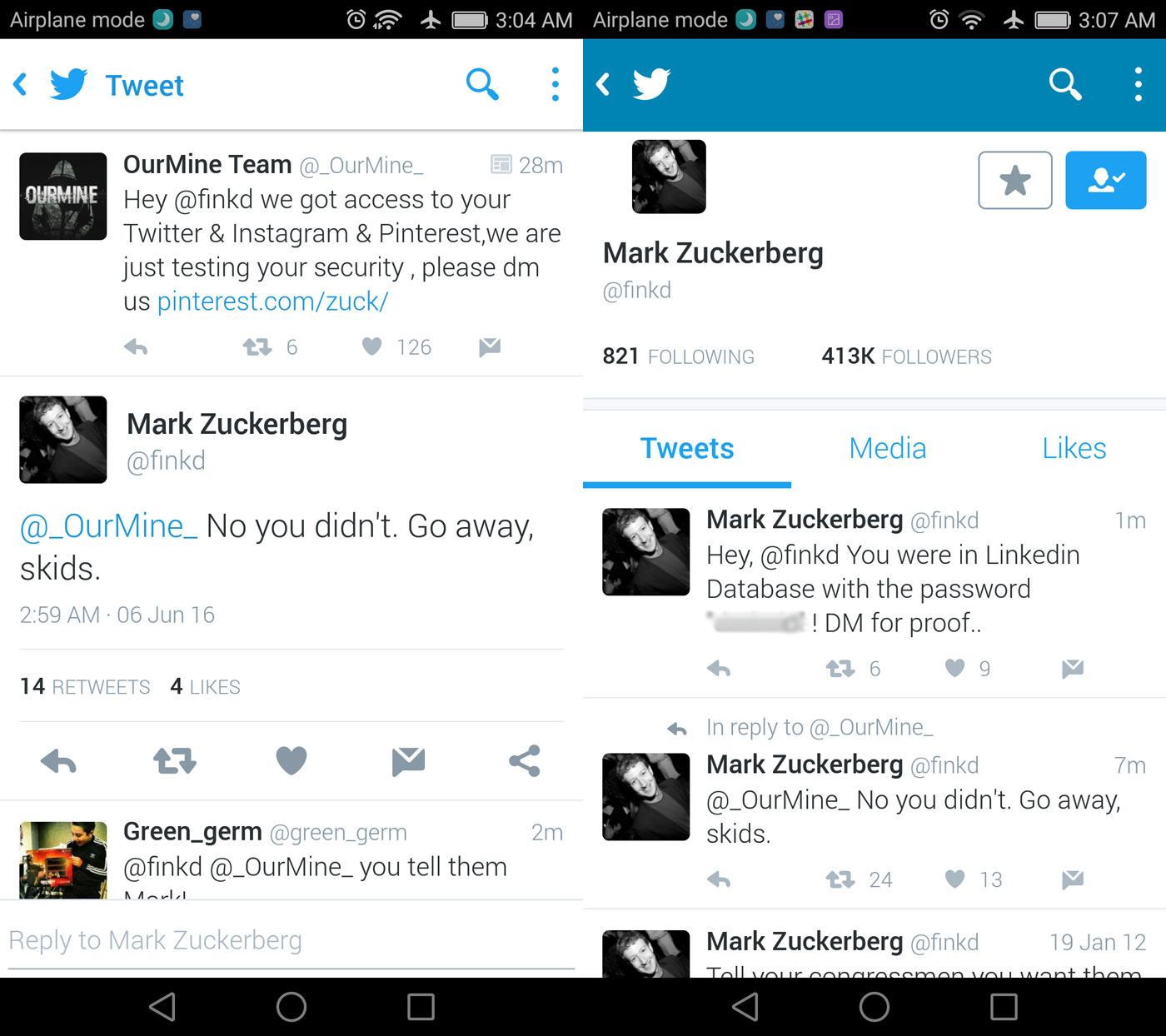 Twitter Mark Zuckerberg OurMine