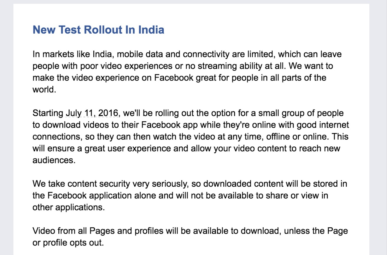 Download video Facebook India