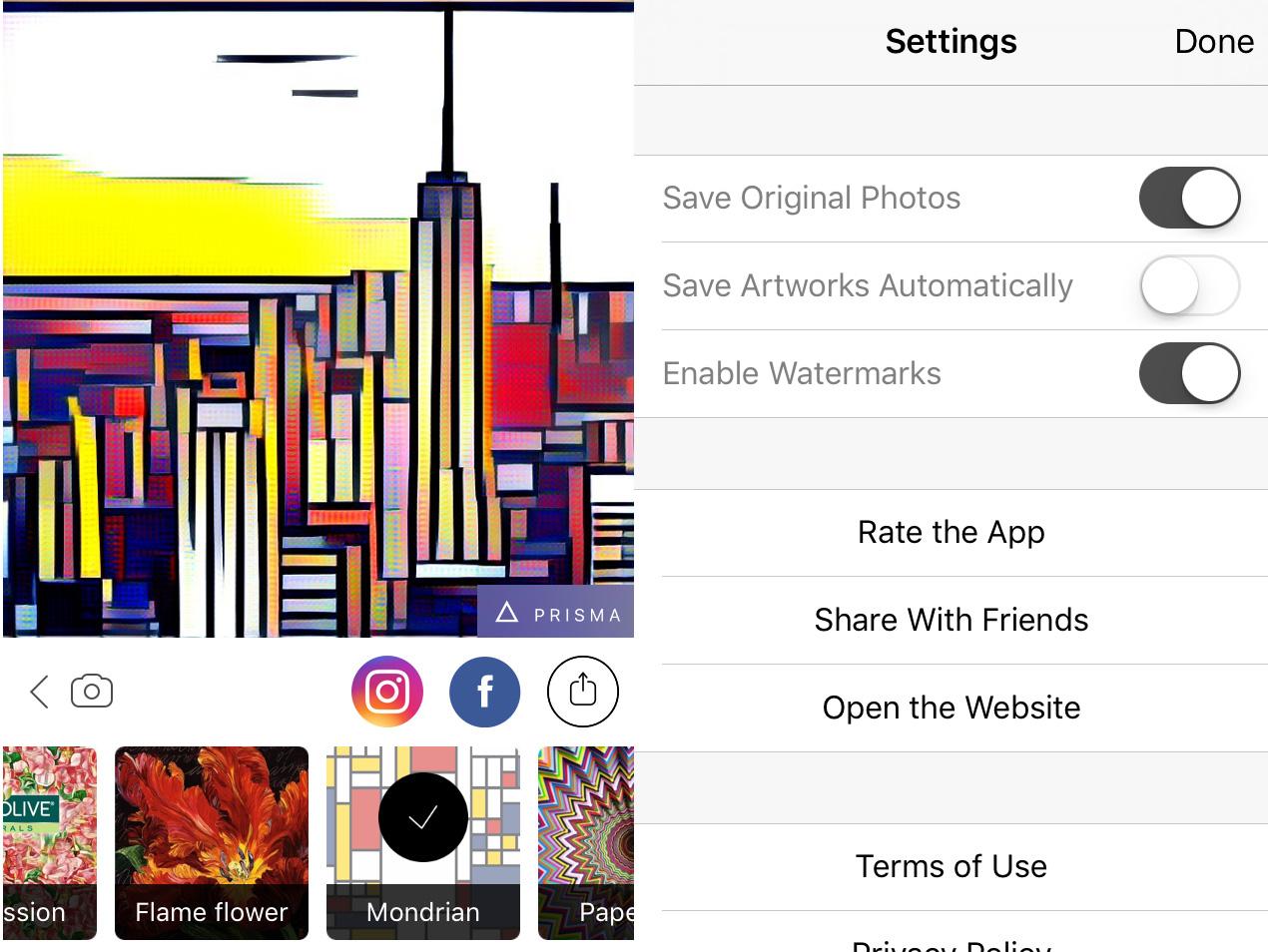 Prisma app impostazioni