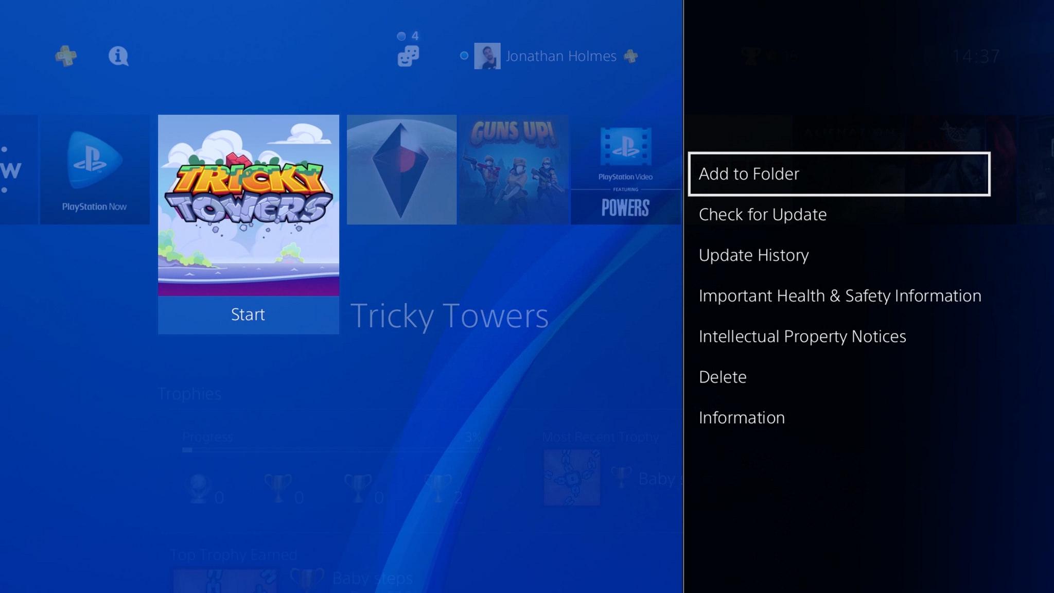 Aggiungi cartella PlayStation 4 console