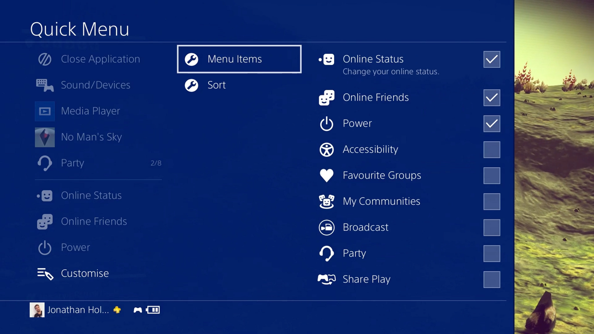 Menu rapido PlayStation 4