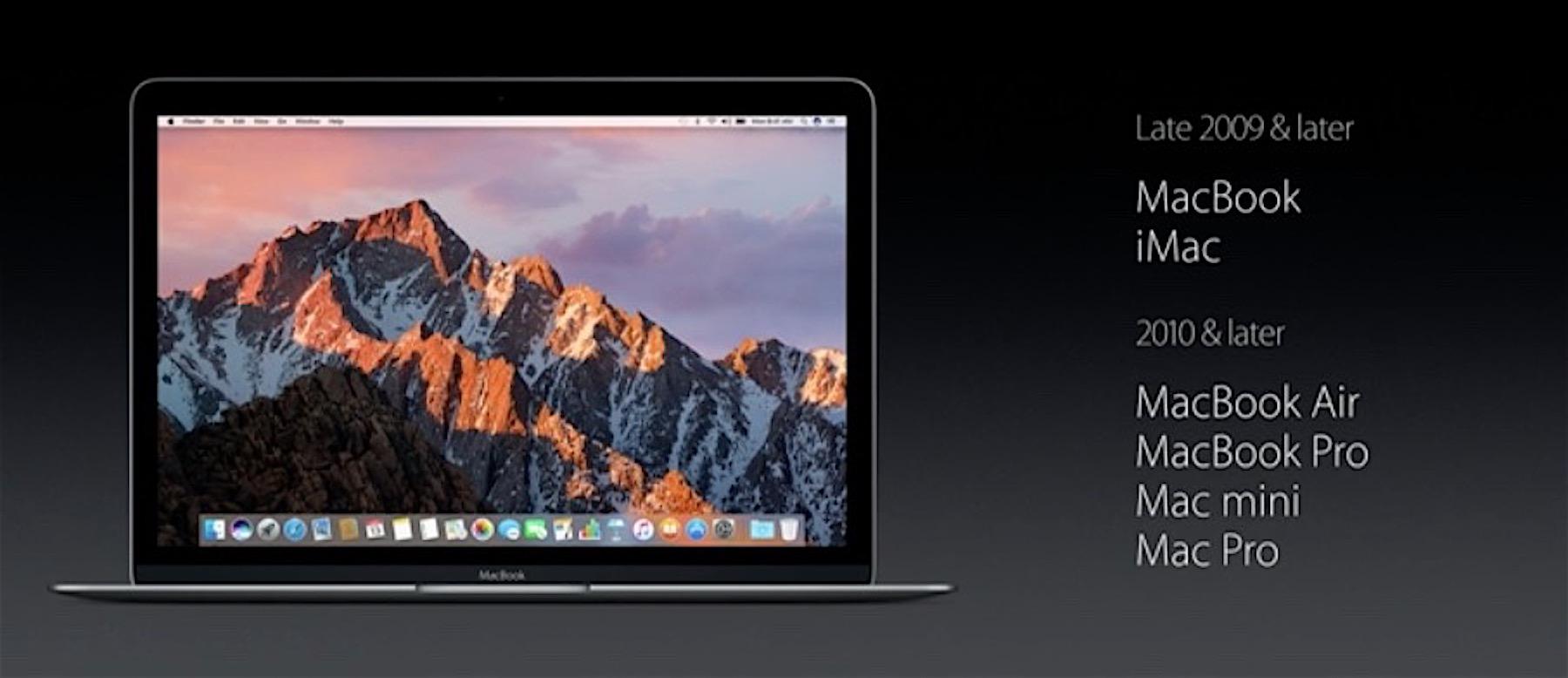 macOS Sierra Mac compatibili