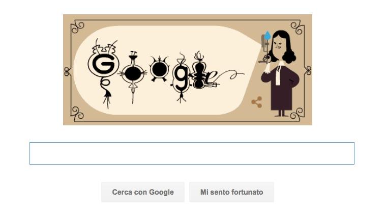 Google Doodle per Antoni van Leeuwenhoek e l'osservazione dei batteri