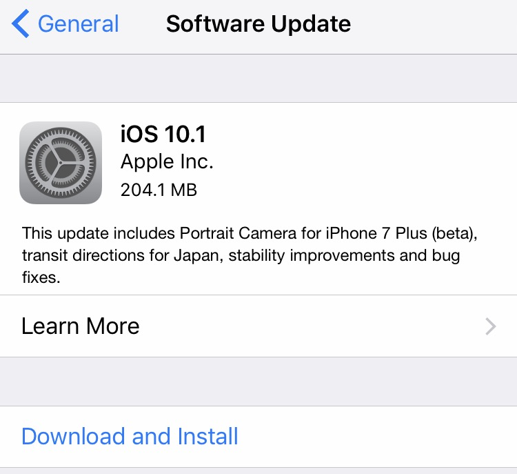 Changelog iOS 10.1