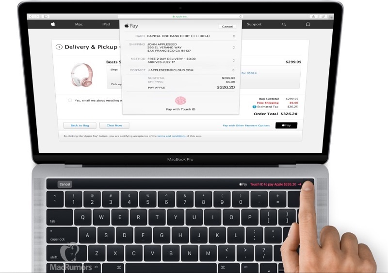 MacBook Pro Touch ID e Apple Pay