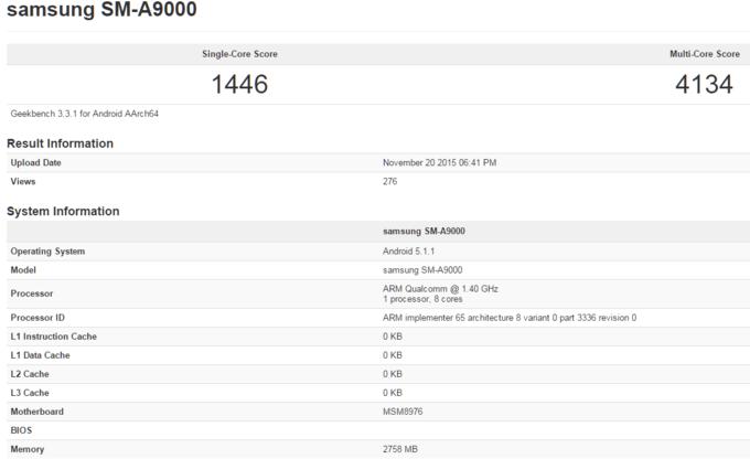 Samsung Galaxy A9 benchmark