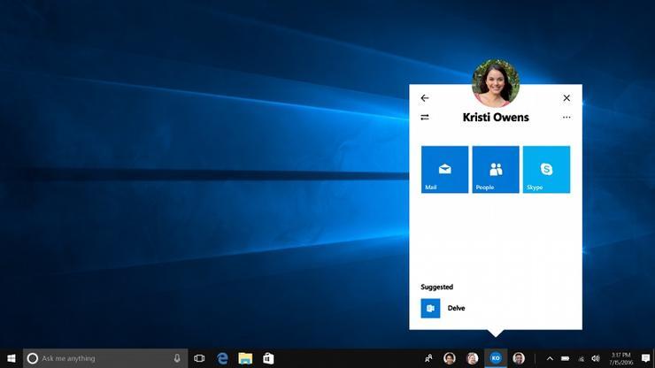 Windows 10 Creators Update contatti
