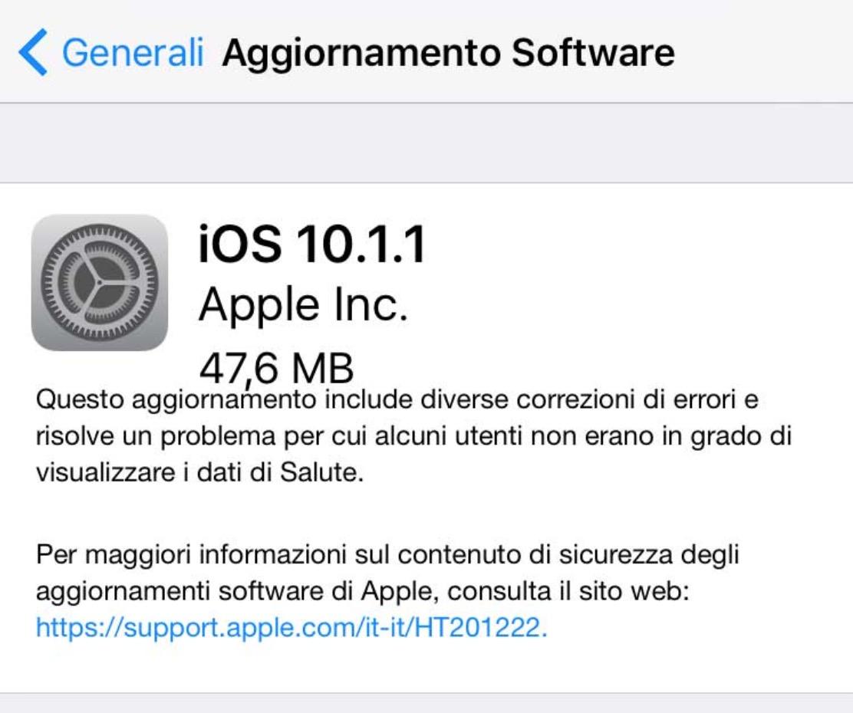 iOS 10.1.1 aggiornamento