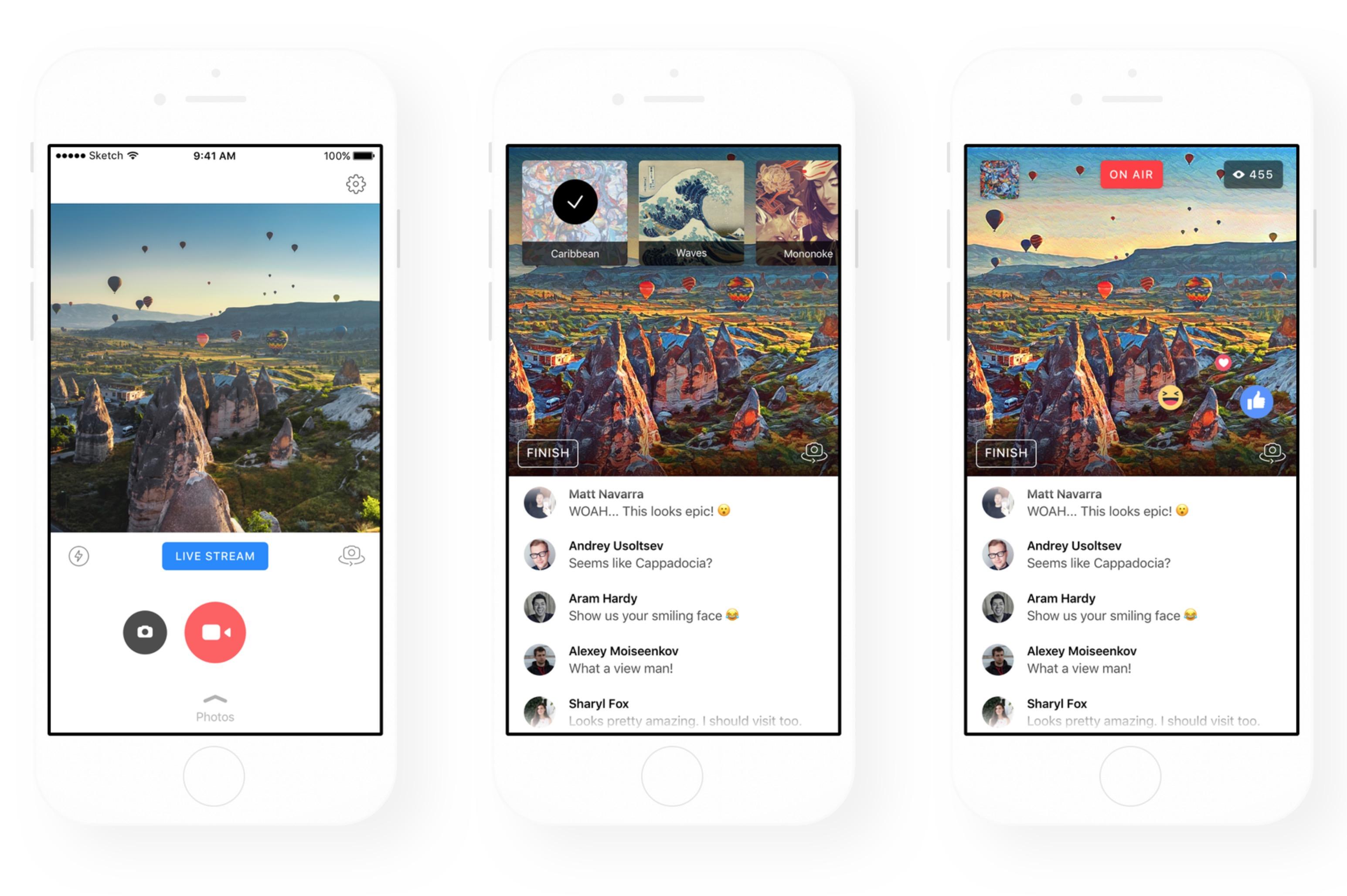 Facebook Live integra filtri Prisma
