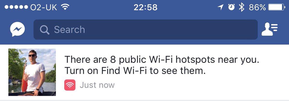 Facebook e hotspot WiFi nelle vicinanze