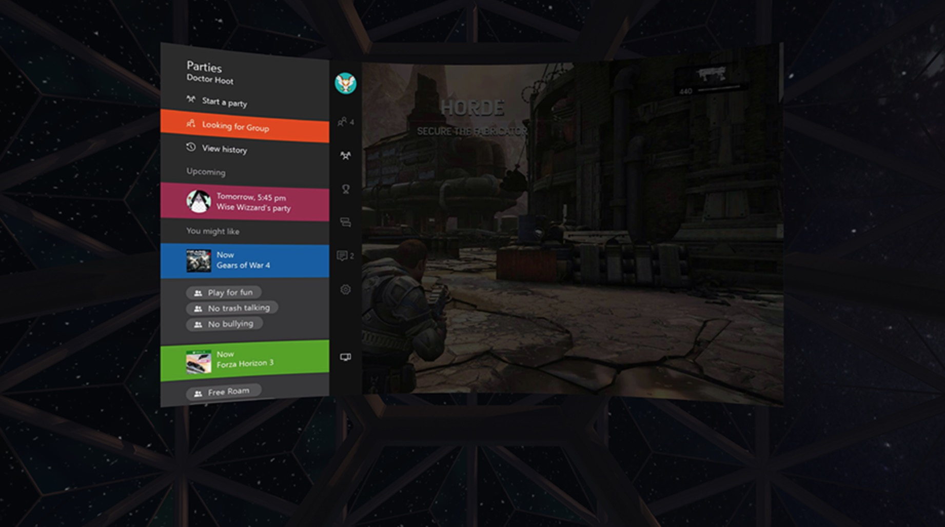 Schermata Oculus Rift e Xbox One