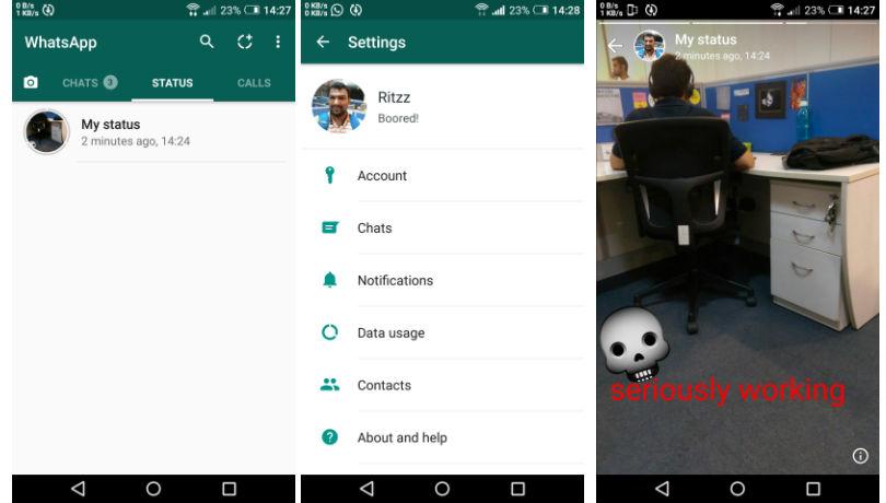 WhatsApp Status schermate