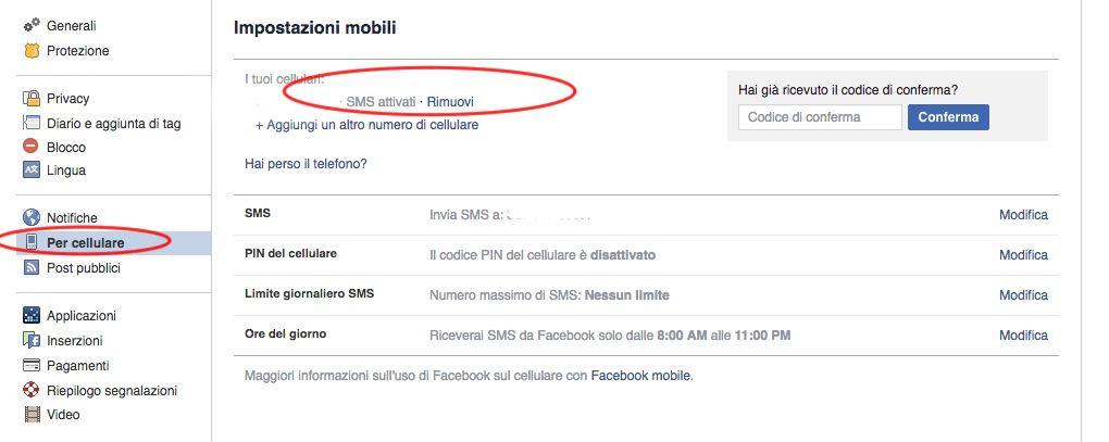 come eliminare numero di telefono da facebook privacy