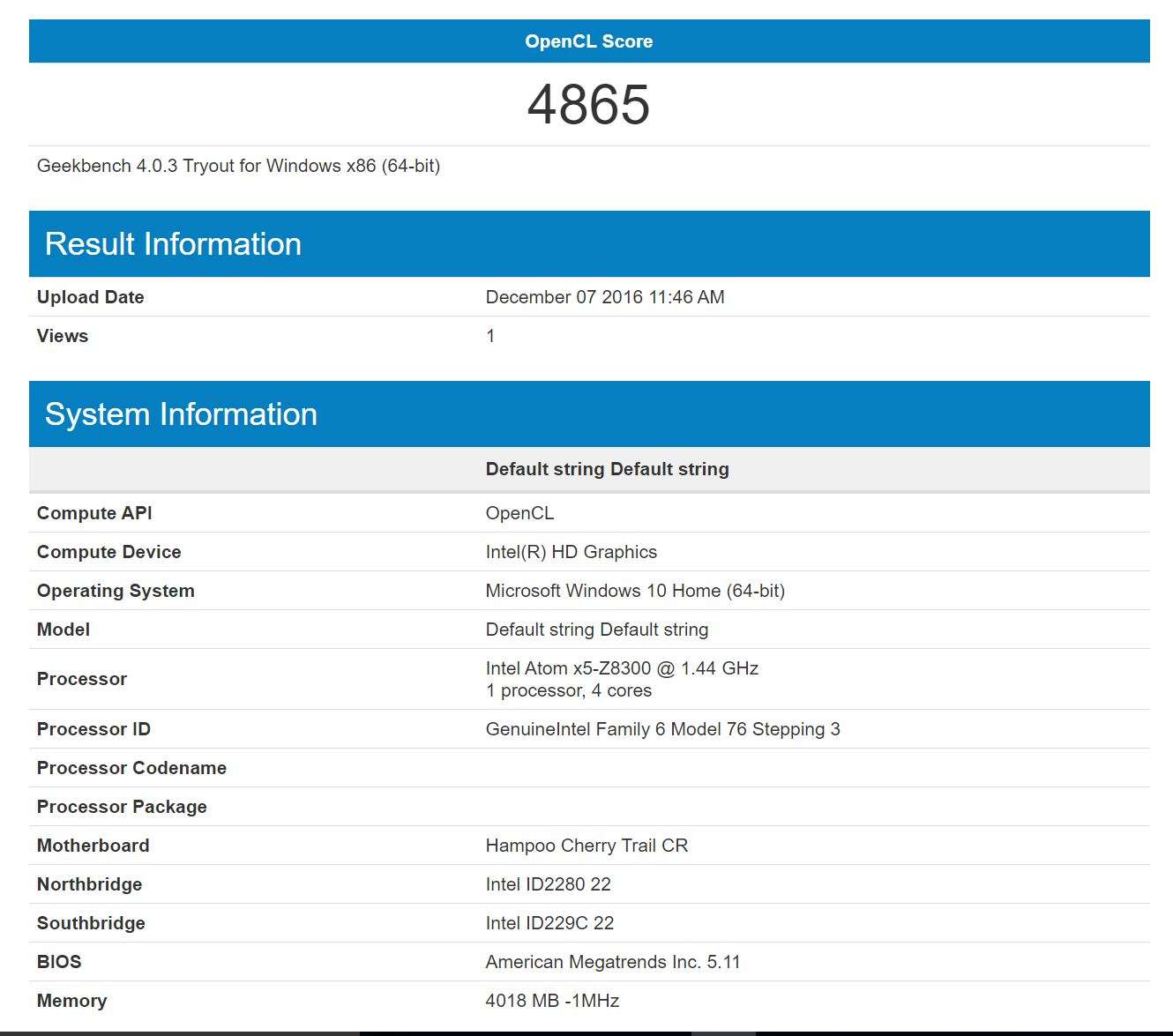 Chuwi Hi12 Geekbench 4 Windows