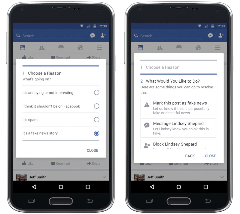 Segnalazione notizie false Facebook