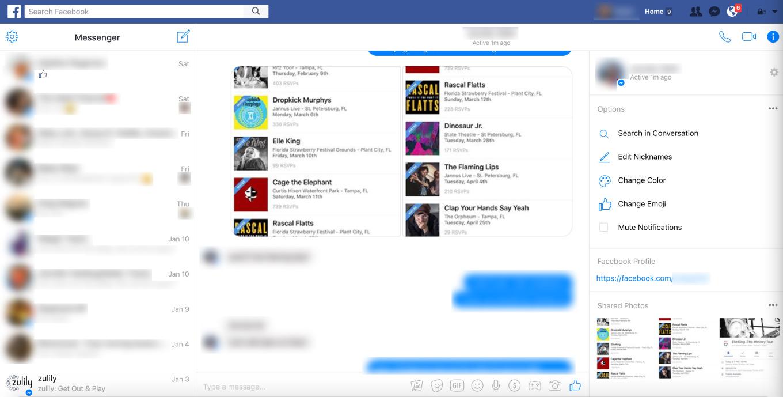 Facebook Messenger web schermata