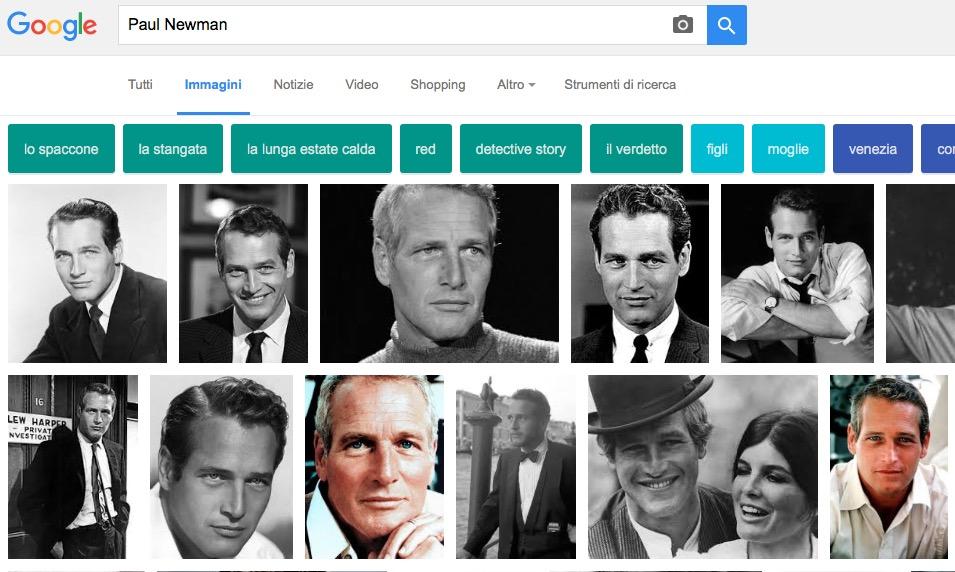 Google Immagini ricerca con pulsanti suggerimenti