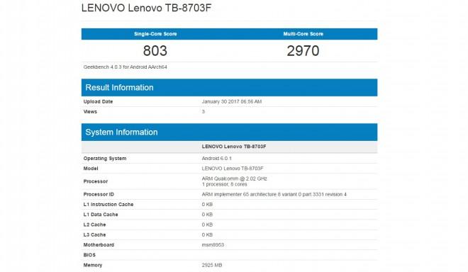 Lenovo Tab 3 8 Plus: la possibile scheda tecnica