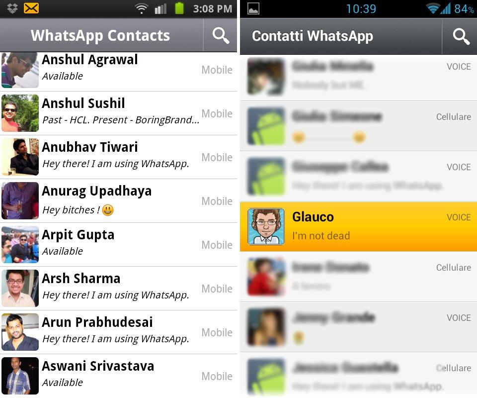 Schermata della lista contatti di Whatsapp