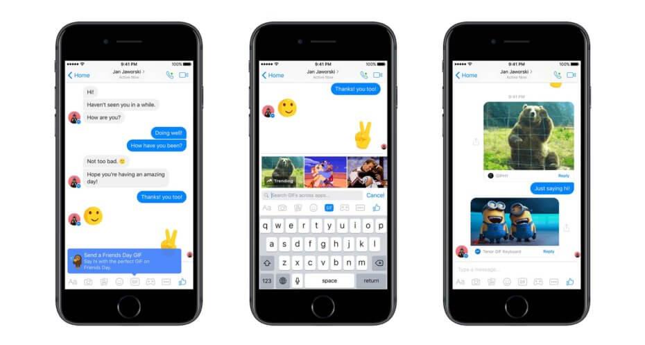 GIF Facebook Messenger giornata dell'amicizia 2017