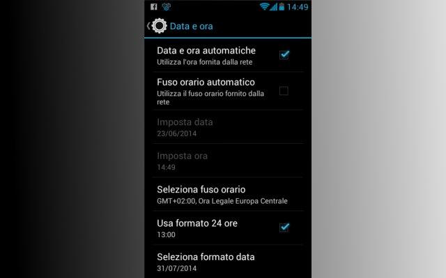 Android fuso orario