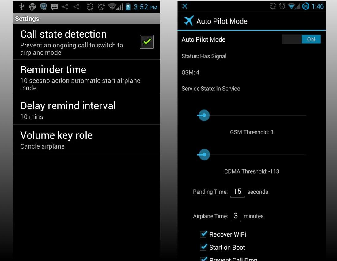 Opzioni modalità aereo Android