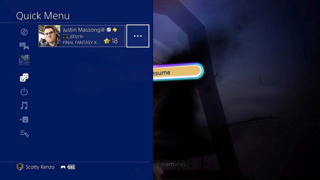 PlayStation 4 menu rapido
