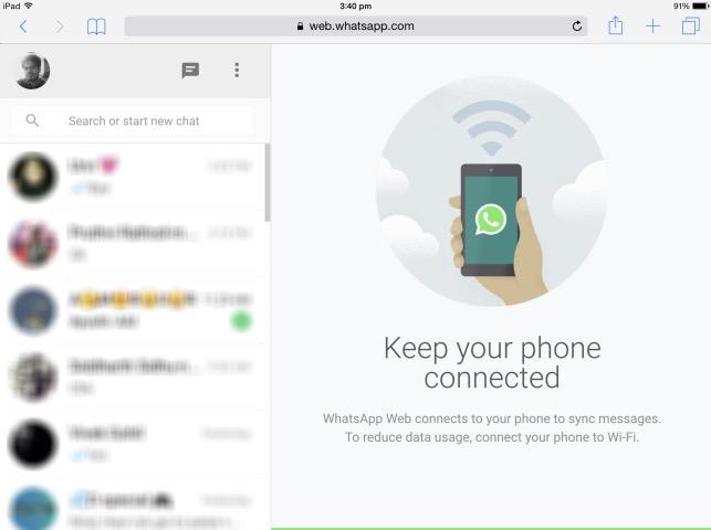 WhatsApp Web su iPad