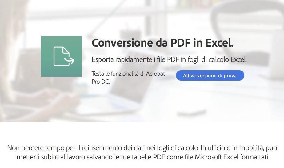Adobe conversione da PDF in Excel