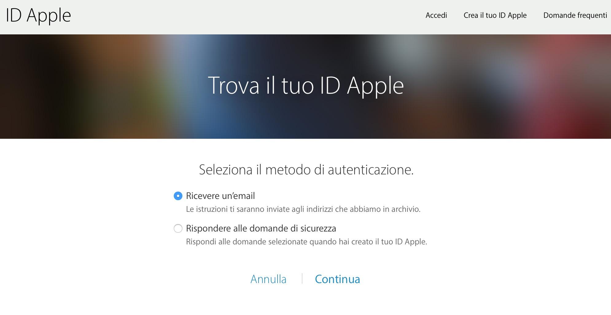 Autenticazione email domanda di sicurezza ID Apple