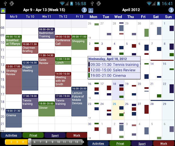 Business calendar per Android con colori diversi in base all'importanza degli appuntamenti
