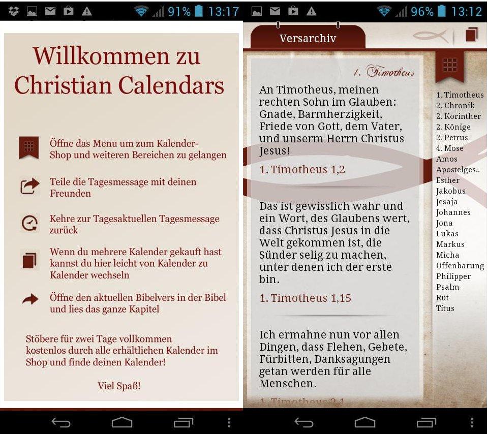 Calendario Cristiano per Android con messaggio del giorno