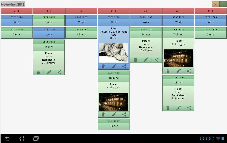 Ecal il calendario Android con le immagini associate agli eventi