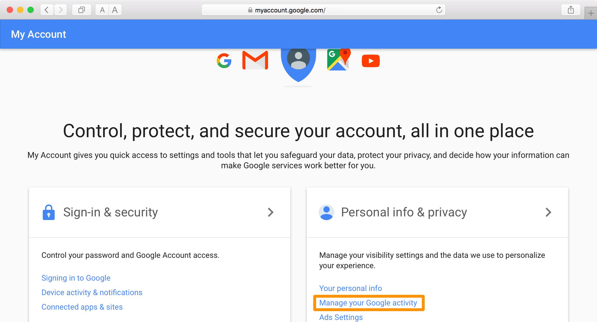 Cancellare cronologia Google