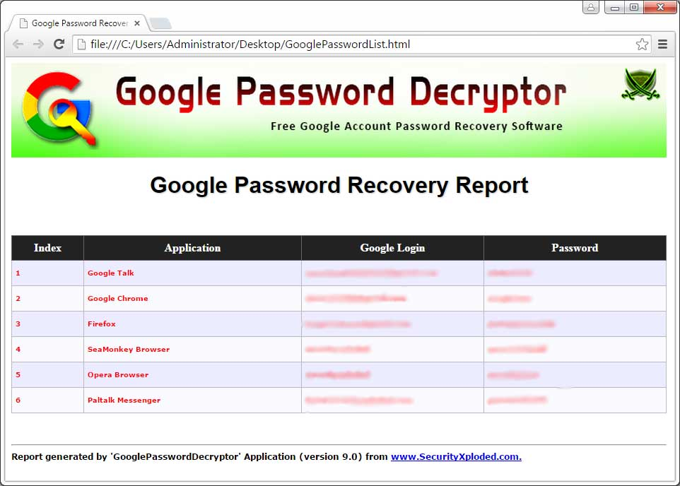 Google Password Decryptor