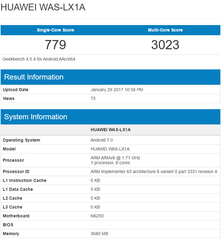Huawei P10 Lite benchmark