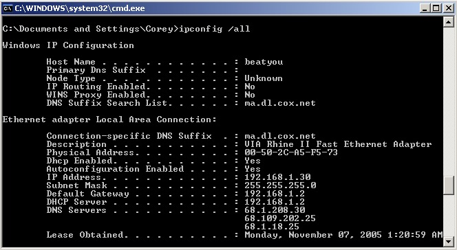 Indirizzo modem router Windows