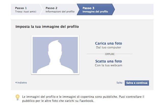 Iscrizione Facebook passo quattro