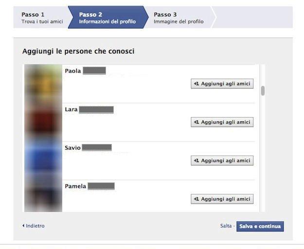 Iscrizione Facebook passo tre