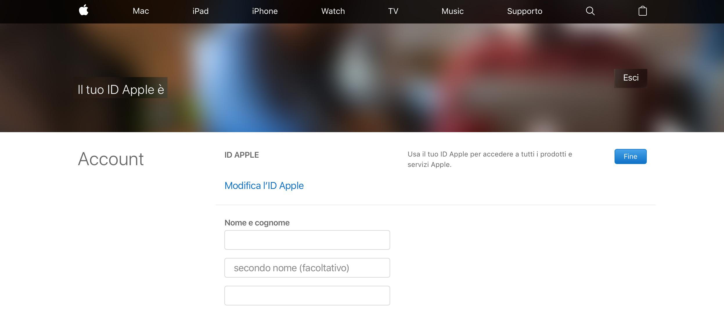 Modifica Apple ID account