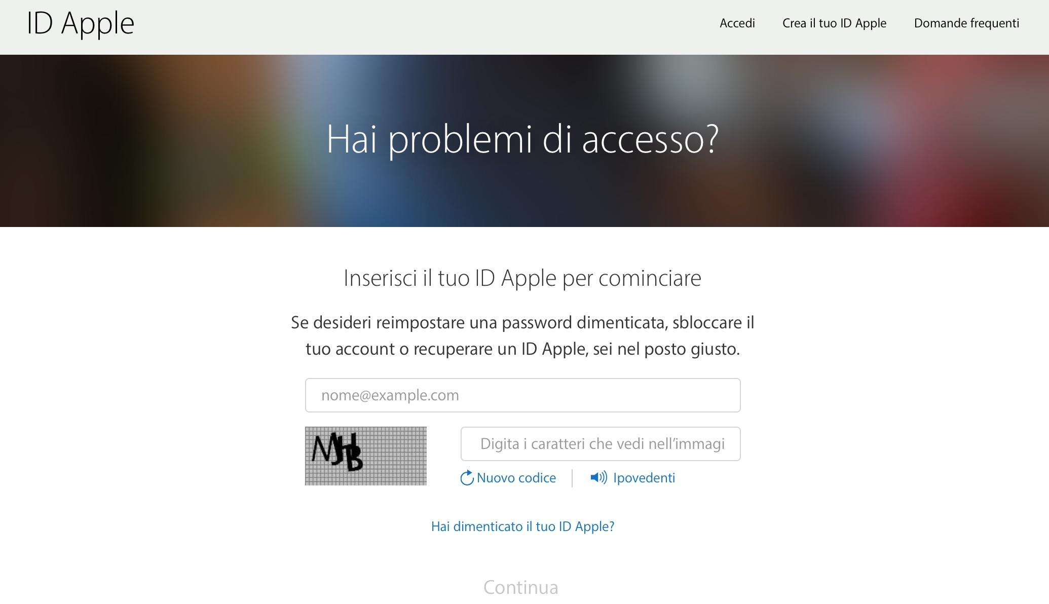 Problemi di accesso ID Apple
