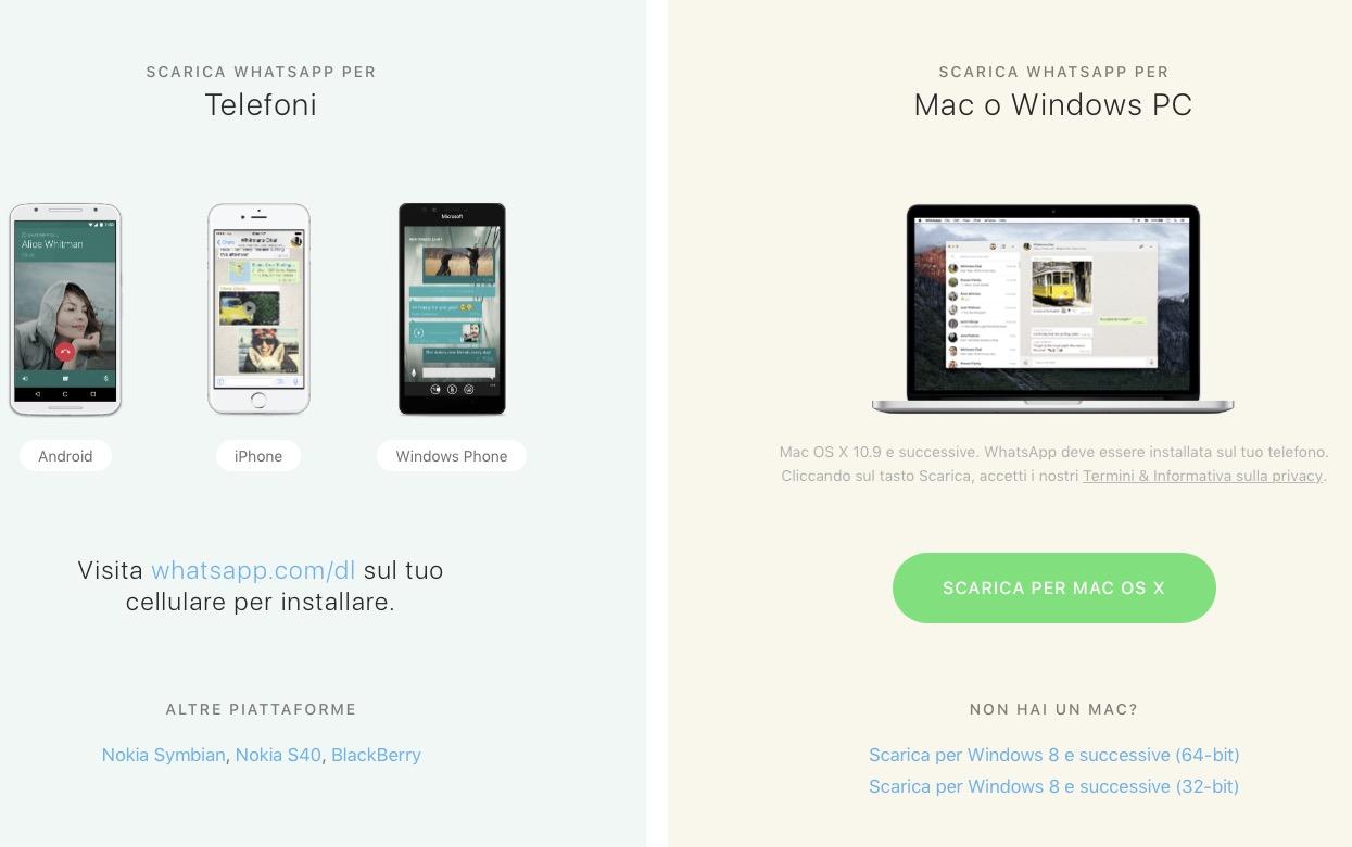 Scaricare WhatsApp Android iPhone Windows Phone Mac e Windows