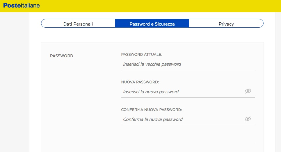 cambiare password postepay